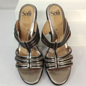 Sofft Strappy Sandals Gold Metallic Black Size 8M